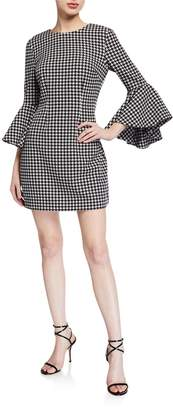 LIKELY Mallory Houndstooth Flare-Sleeve Dress