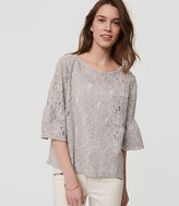 LOFT Floral Lace Bell Sleeve Top