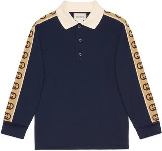 Gucci Children's cotton polo with Interlocking G stripe