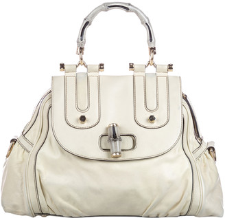 Gucci White Leather Bamboo Dialux Pop Satchel Bag