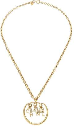 Chanel Gold Logo Letters Charm Necklace
