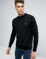 Fred Perry Texture Knit Jumper Stripe In Black