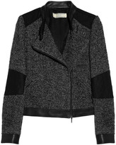 Athé Leather-trimmed tweed biker jacket