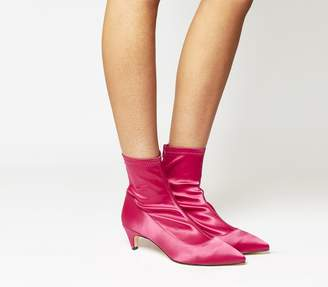 Office Atomic Stretch Kitten Heels Hot Pink Satin