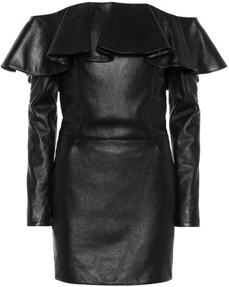 Saint Laurent Off-the-shoulder leather minidress