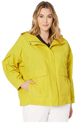 Eileen Fisher Plus Size Hooded Coat (Yarrow) Women's Clothing