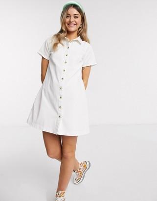 ASOS DESIGN soft denim smock shirt dress in white