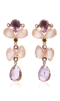 Bounkit Brass 14K Gold Plated Amethyst and Rose Quartz Earrings