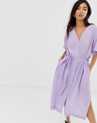 Weekday tie-waist midi dress in lilac