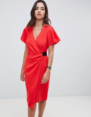 Asos Design DESIGN drape front midi pencil dress with elastic detail