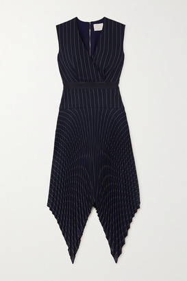 Dion Lee Pleated Pinstriped Woven Midi Dress - Navy
