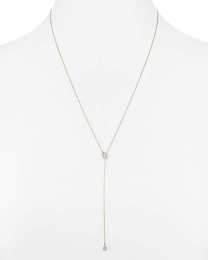 Adina 14K Yellow Gold Teardrop Lariat Necklace with Diamonds, 20