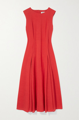 Cefinn Melina Pleated Voile Midi Dress - Red