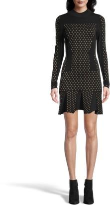 Nicole Miller Diamond Jacquard Long Sleeve Dress