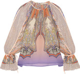 Etro Printed Silk-chiffon And Fil Coupé Blouse - Pink