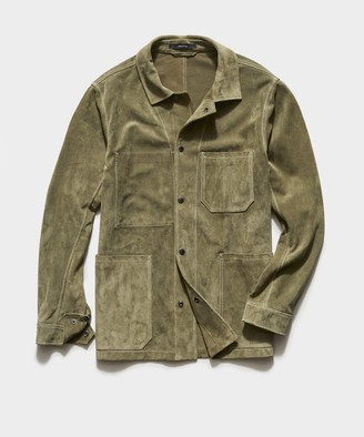 Todd Snyder Italian Suede Chore Coat in Forest Green