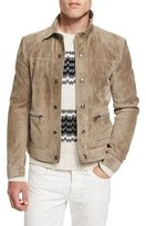 Tom Ford Cashmere Suede Trucker Jacket w/Zip Pockets, Tan