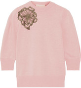 Roksanda Morena Appliquéd Wool Sweater - Blush