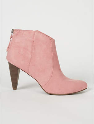 George Pale Pink Suede Style Cone Heel Chelsea Boots