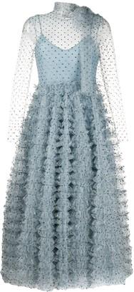 RED Valentino Crystal Embellished Ruffled Evening Dress
