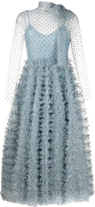 RED Valentino crystal embellished ruffled evening dress
