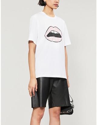 Markus Lupfer Alex sequin Lara-lip logo cotton-jersey T-shirt