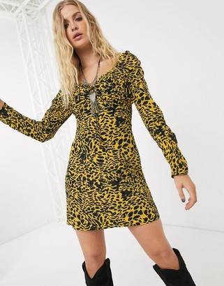 Topshop lace up front mini dress in yellow animal print