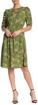 Bobeau Polkadot Cinch Sleeve Knee Length Dress