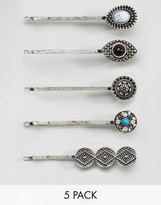 Glamorous 5 pack Stone and Etched Hair Slide Set