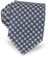 Forzieri Blue and White Checked Woven Silk Men's Tie