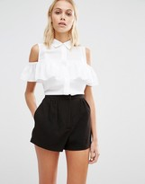 Fashion Union Sleeveless Shirt With Ruffle Cold Shoulder