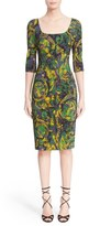 Versace Floral Print Stretch Cady Sheath Dress