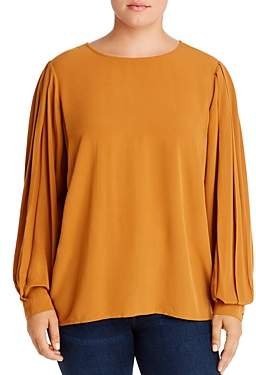 Junarose Plus Tulle Pleated-Sleeve Blouse