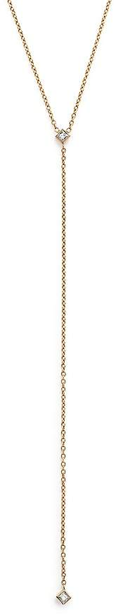 Chicco Zoë 14K Yellow Gold Lariat Necklace with Princess Diamonds, 20""
