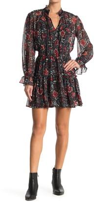 Love Stitch Floral Ruffle Split Neck Mini Dress