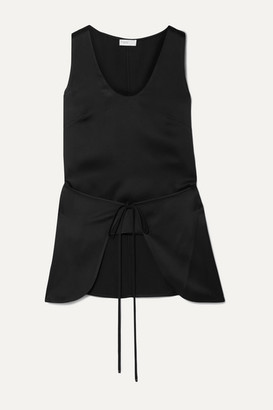 Rosetta Getty Tie-front Layered Satin Tank - Black