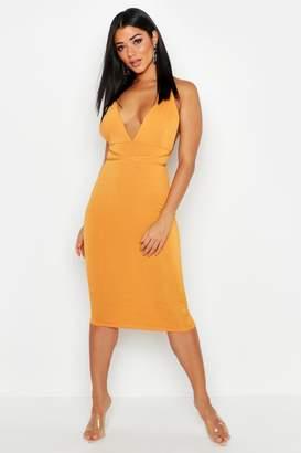 boohoo Plunge Rouche Back Strappy Midi Dress