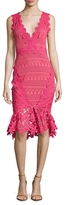 Nicole Miller Lace Floral Trim Peplum Sheath Dress