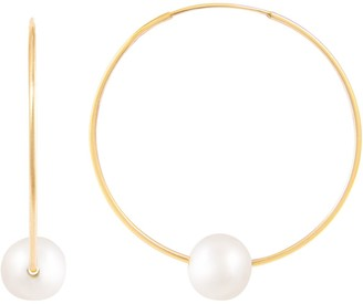 14k Gold Freshwater Cultured Pearl Endless Hoop Earrings