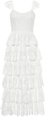 Caroline Constas Dia embroidered cotton midi dress