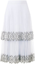 Christopher Kane lace detail pleated skirt - women - Silk/Polyamide - 38