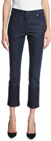 Escada Lace-Hem Skinny Ankle Jeans, Dark Blue