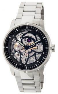 Heritor Automatic Ryder Silver & Black Stainless Steel Watches 44mm