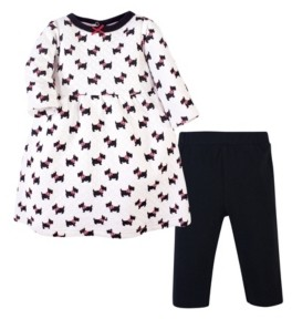 Hudson Baby Girls Quilted Cotton Dress and Leggings Set