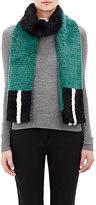 Fendi Women's Colorblocked Mink Fur Scarf-GREEN