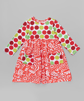 Flap Happy Red Holiday Scroll Dress - Infant, Toddler & Girls