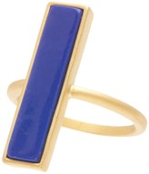 Freida Rothman 14K Gold Plated Sterling Silver CZ Bricked Lapis Ring - Size 7
