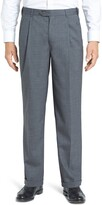 Berle Self Sizer Waist Pleated Classic Fit Wool Gabardine Trousers