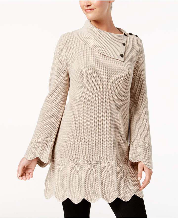 Style & Co Petites Scallop-Edge Sweater