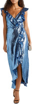 Thumbnail for your product : Monique Lhuillier Wrap-effect Ruffle-trimmed Sequined Crepe Midi Dress